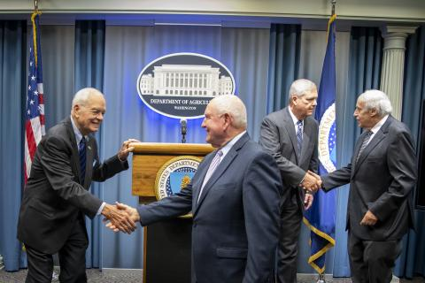 USDA Secretary Perdue and USDA Former Secretaries at USMCA press conference. Photo: USDA