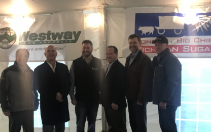 Celebrating the joint venture (From Left to Right: Marc Flegenheimer, Michigan Sugar President & CEO; Greg McLean, Westway Feed Director of Starting-Business Development; Zach Giese, Westway Feed Carrollton Plant Manager; Beau Meneley, Westway Feed Vice President of Operations; Mark Moss, Westway Feed Procurement Director; David Flach Westway Feed Michigan Products Salesman. (Photo credit- Ric Antonio; WSGW)