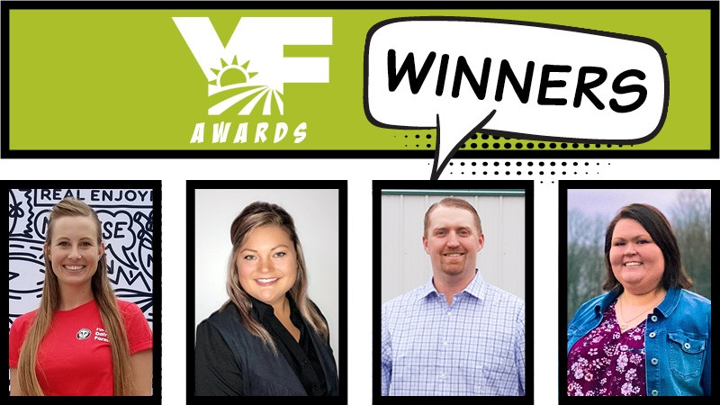 Every year Michigan's best young farmers, ages 18-35, face off in categories geared toward measuring their agricultural involvement, leadership and achievements. This year's winners are Katelyn Packard, Tera Baker, Terry Page, and Katelyn Thompson. Photo: Michigan Farm Bureau