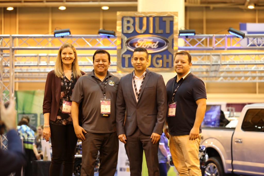 AgHelp, a Belding-based company, competed as one of four national finalists in the Ag Innovation Challenge during the American Farm Bureau annual meeting in New Orleans in 2019. Pictured above, from left to right, are Lori Godfrey, Feliciano Paredes Jr., Sadoc Paredes, and Ivan Paredes | Photo by AFBF