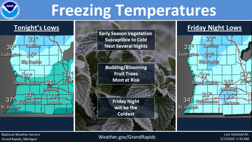 The Grand Rapids U.S. National Weather Service has issued a freeze watch for Thursday and Friday night, with Friday and Saturday morning expected to coldest with widespread temperatures forecast to hit in the 20s, putting blooming/budding fruit trees at risk. | National Weather Service, Grand Rapids photo