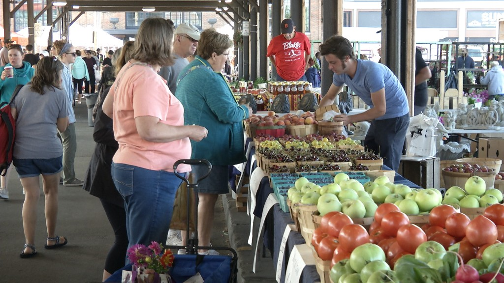 Members of the first class of Michigan GROWN Michigan GREAT Ambassadors will engage with consumers on issues involving agriculture at farm markets such as this one at Detroit's Eastern Market, the largest historic public market district in the United States. Photo, Michigan Farm News