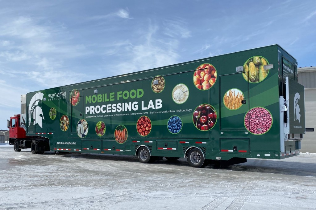 The first MSU food processing mobile lab will be used with students at different community college locations around Michigan. Photo: MSU CANR