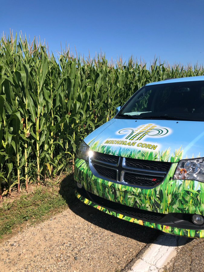 Michigan Corn performing yield checks in Calhoun County ahead of its virtual Between the Rows Tour. Photo: @MI_Corn Twitter